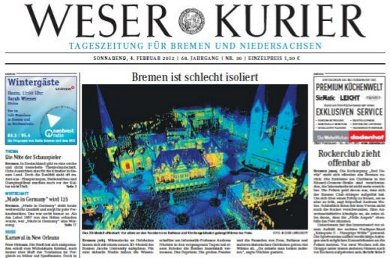 In einer aktuellen Studie haben Forscher der Jacobs     University jetzt ein hochpräzises thermografisches 3D-Modell     der Bremer Innenstadt erstellt. Damit setzten sie das an der     Universität entwickelte ThermalMapper-Verfahren zur     thermografischen 3D-Modellierung von Innenräumen erstmals zur     Analyse von Wärmeverteilung und Wärmeflüssen in einem größeren     Freilandareal ein. Zielsetzung von ThermalMapper ist es,     sogenannte Wärmebrücken, die einen Wärmeverlust an die     Außenwelt verursachen, zu identifizieren, damit über geeignete     Dämmmaßnahmen die Energieeffizienz von Gebäuden verbessert     werden kann.