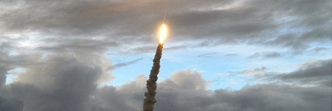 Ariane 5 ECA climbs into the evening sky