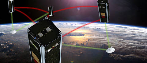 NetSat: Four nano-satellites measuring 10 x 10 x 30 centimetres flying in formation in an orbit at an altitude of 600 kilometres.