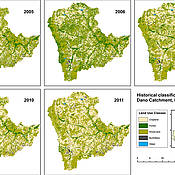 Land use map for the catchment area of the city of Dano in Burkina Faso. It shows how, between 2005 and 2011, the proportion of forest areas became smaller and that of arable land larger. (Picture: Gerald Forkuor)