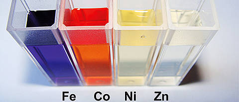 Usually, metal ions such as iron, cobalt, nickel or zinc and ligands spontaneously form colourful MEPE in solution. The team of Dirk Kurth has measured how quickly they assemble. (Photo & Graphic: team Kurth)