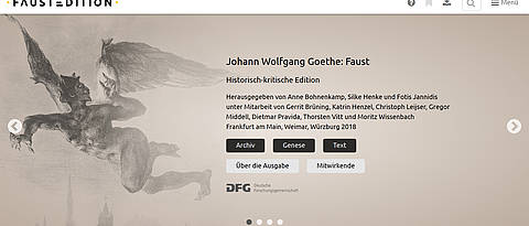 Homepage of the digital web-based Faust edition. (Picture: faustedition.net)