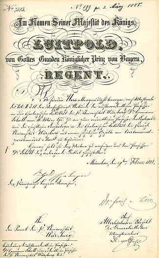 Certificate: Promotion of Herman Schell to an ordinary Professor 1888