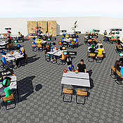 The design of the seminar room on the social VR platform ViLeArn, which is being developed at the University of Würzburg.
