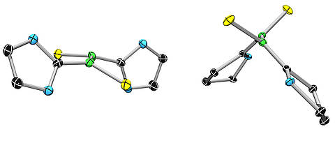 A conventional boron-boron double bond (left) and its extremely stable biradical relative. (Graphic: Dr. Rian Dewhurst)