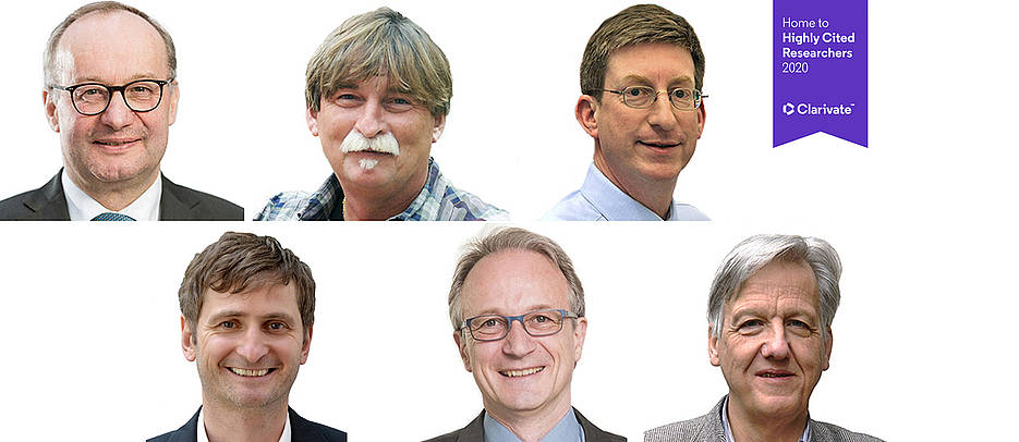 Porträtfotos der Professoren Hermann Einsele, Rainer Hedrich, Andreas Rosenwald, Jörg Vogel, Frank Würthner, Laurens Molenkamp.