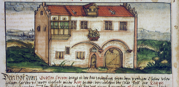 A miniature from Lorenz Fries' Episcopal Chronicle shows Großer Löwenhof, the first building to house the University.